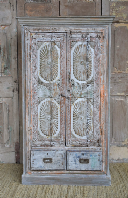 Colonial Sunburst Cupboard with Peacocks, Gujarat <b>sold<b>